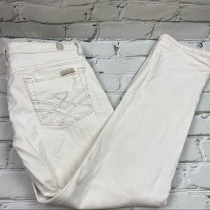 7 for all mankind Edie flood cropped white jeans